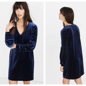 Madewell Dresses - Madewell Velvet Balloon Sleeve Dress Blue